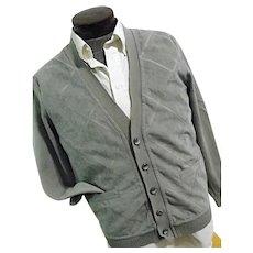 Vintage St Croix Reyn Spooner Mens Gray Cardigan Sweater Zephyr Wool & Suede