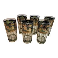 EXCELLENT MCM Cera Glass Set of Six Highball Tumblers Golden Grapes Green