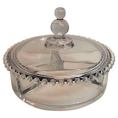 Imperial CANDLEWICK 3 Part Covered Candy Box Dish With Beaded Lid Cover