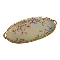 LOVELY Limoges France Oval Serving Dish Hand Painted Pansies Signed M Boyer