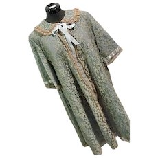 1950s Odette Barsa for Saks 5th Ave Womens Dressing Gown Robe Ecru Lace Blue Satin