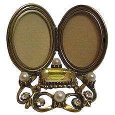 Hollywood Regency MCM Vintage Florenza Double Locket Mini Vanity Frame Topaz Seed Pearls