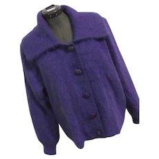 Venesha High Quality Angora Sweater Womens Vintage Purple Cardigan Bld M Button