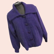 Venesha High Quality Angora Sweater Womens Vintage Purple Cardigan Bld M Button