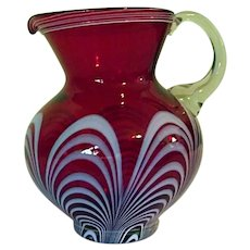 ESTATE Vintage Victor Durand Glass Co Red Pulled Feather Loop Pitcher NJ 1924-31
