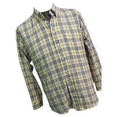 NICE Burberry London Mens Yellow Nova Check Button Down Shirt Medium Long Sleeve