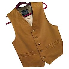 BUTTERY SOFT First Street Leather Calif Mens Vintage Vest Waistcoat Caramel Color XS