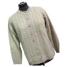 CHARMING Vintage 1960s Womens Cardigan Sweater Atkins 100% Wool 40 M Ivory