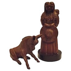 Mid Century Jose Pinal Mexico Hand Carved Wood Figures Woman with Baby & Sitting Donkey