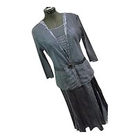 NICE Komarov Womens Blue Crinkle & Sheer Special Occasion Dress & Jacket Rhinestone