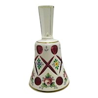 BEAUTIFUL Vintage Bohemian Glass Bell Cased Glass Cut to Cranberry Hand Painted Flowers