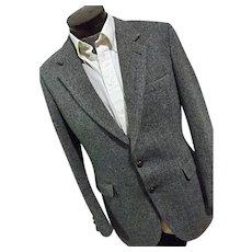 Excellent Vintage Harris Tweed Blue 100% Wool Mens Blazer 40 Reg