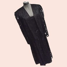 LOVELY Vintage Lanz Orig Womens Black Lace Dress w/ Matching Jacket Party Evening Med