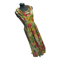 Vintage Elfriede for Mitch Robert Womens Maxi Dress Hawaiian Poppies Floral Sz 8