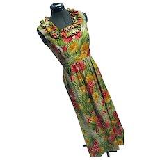 Vintage Elfriede for Mitch Robert Womens Maxi Dress Hawaiian Poppies Floral Sz 8