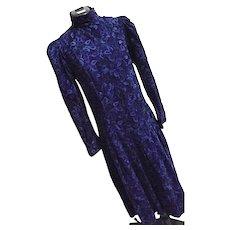 Vintage Laura Ashley Womens Blue Corduroy Dress High Neck Button Down England 10