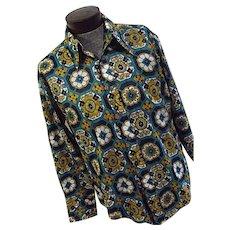 FANTASTIC Vintage 1960s Hippie Mod Go-Go Mens Shirt Showcase XL Polyester