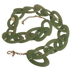 Vintage Kenneth Lane KJL Womens Green Plastic LInk Belt w/ Gold Chain Mod