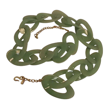 Vintage Kenneth Lane KJL Womens Green Plastic LInk Belt w/ Gold Chain Mod