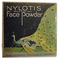 Vintage 1920s Nylotis Face Powder Box Art Deco Peacock Nyal Co Tax Stamps