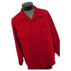 Vintage 1960s Pendleton Mens 100% Wool Solid Red Board Shirt XL Collar Loop