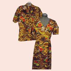 Vintage 1960s-70s Royal Hawaiian His & Hers Honeymoon Set Womens Dress 10 Mens Shirt Sm