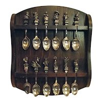 RETIRED Beatrix Potter Set of 12 Collector Spoons Rack New England Coll Society