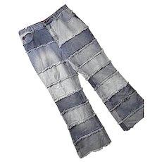 Boho Hippie Vintage Zana Di Womens Faded Patchwork Denim Jeans Pants 16