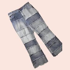 Boho Hippie Vintage Zana Di Womens Faded Patchwork Denim Jeans Pants 16