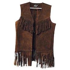 Boho Hippie Vintage 1970s Mens Gant Suede Leather Vest Fringe Small Brown