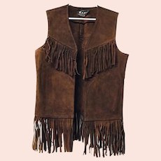Boho Hippie Vintage 1970s Mens Gant Suede Leather Vest Fringe Small Brown