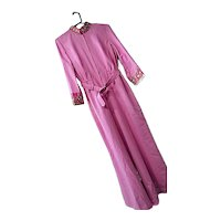 Vintage 1970s Antoinette Womens Hot Pink Embellished One Pc Jumpsuit 14 Belt