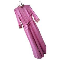 Vintage 1970s Antoinette Womens Hot Pink Embellished One Pc Jumpsuit 14 Belt