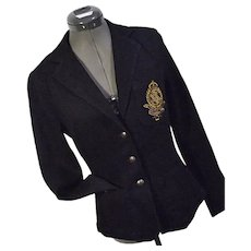 Vintage Ralph Lauren Jeans Co Womens Black Stretch Denim Jacket Crested XS