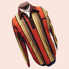 Vintage 1970s Don Loper by Duke of Hollywood Mens Velour Striped Shirt Lg Tall