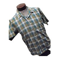 Vintage 1950s Kent Never Press Sanforized 100% Cotton Mens Plaid Shirt SS Lg