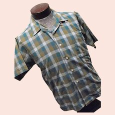 Vintage 1950s Kent Never Press Sanforized 100% Cotton Mens Plaid Shirt SS Lg