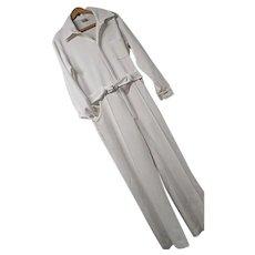 Vintage 1970s LeVoy's Mens White One Piece Jumpsuit Polyester Med Elvis Belted