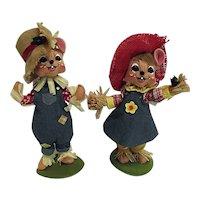 "Annalee Mobilitee Dolls Pair 8"" Scarecrow Mouse Girl & Boy 2012-13 Tag"