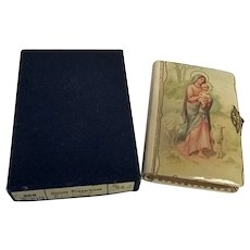 Lovely Celluloid Cover Catholic Childs Prayerbook Madonna and Child With Box