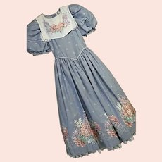 Vintage Daisy Kingdom Factory Made Girls Dress 10 Blue & White Pink Roses