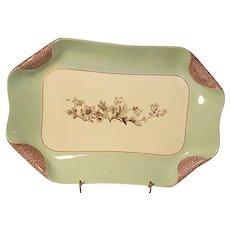 1880s Haviland Limoges H3539 Napkin Fold Medium Green Rectangle Platter