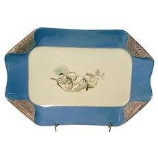 1880s Haviland Limoges H3539 Napkin Fold Small Blue Rectangle Platter