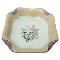 1880s Haviland Limoges H3539 Napkin Fold Square Vegetable Serving Bowl Peach #1