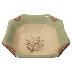 1880s Haviland Limoges H3539 Napkin Fold Deep Sq Vegetable Serving Bowl Green
