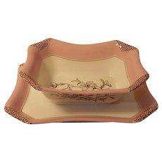 1880s Haviland Limoges H3539 Napkin Fold Open Sauce Gravy Attached Plate Pink