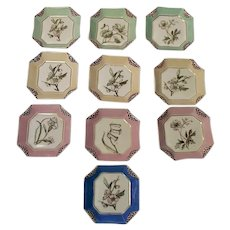 1880s Haviland Limoges H3539 Napkin Fold Set of 10 Butter Pats