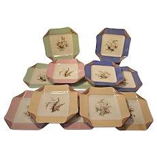 "1880s Haviland Limoges H3539 Napkin Fold Set of 12 Salad Luncheon Plates 8"" Sq"
