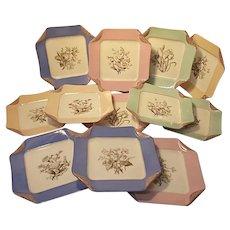 "1880s Haviland Limoges H3539 Napkin Fold Set of 12 Dinner Plates 9"" Sq All Colors"