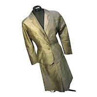 Vintage 1940s Womens 2 PC Gold Taupe Skirt Suit Set Jacket Raw Silk Sm-Med